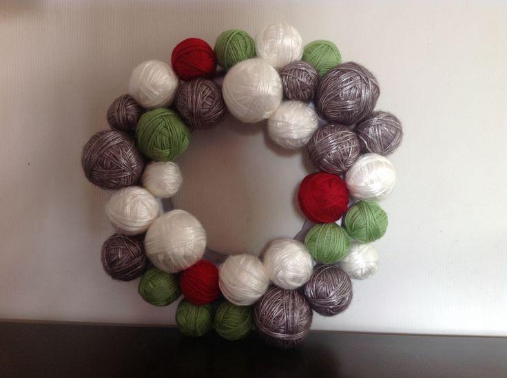 Christmas 'balls of wool' wreath