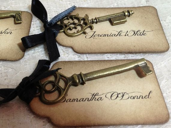 Personalized key with vintage style tag place cards by chickeyshop on etsy