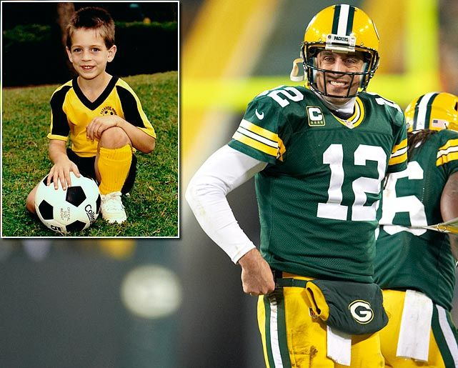 Aaron Rodgers, then and now. Wrong Ball...but the Right Colors