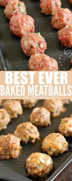 Baked Meatballs that are some of the best ever meatballs in the history of all meatballs! Such a simple and easy meatball recipe. Very tender and flavorful! Perfect to add to spaghetti sauce or any other recipe that requires basic meatballs!