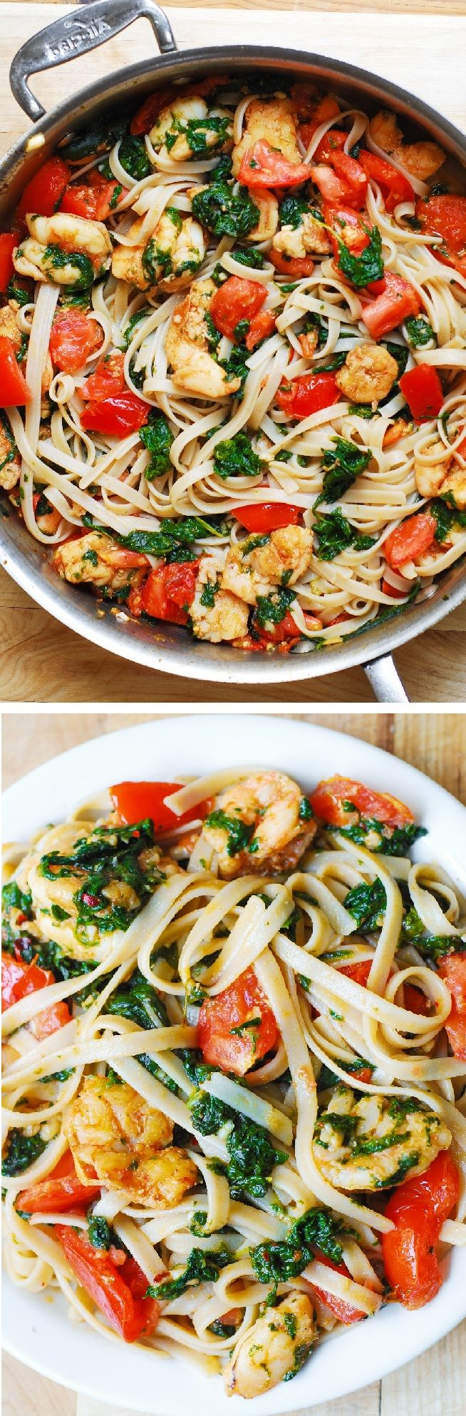Shrimp, fresh tomatoes, and spinach with fettuccine pasta in garlic butter sauce.