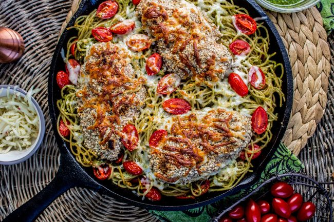 almond crusted chicken with homemade pesto pasta almond crusted ...