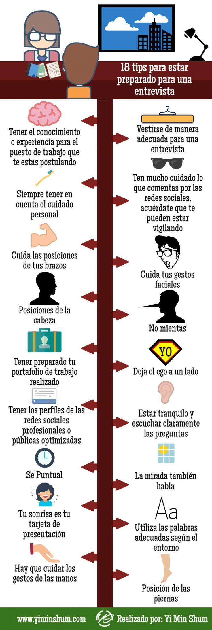 18 consejos para una Entrevista de Trabajo #infografia