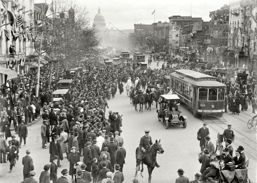 """February 1913. """"Woman suffrage -- hikers arriving in Washington from New York."""" The 19th Amendment to the Constitution granted women the right to vote."""
