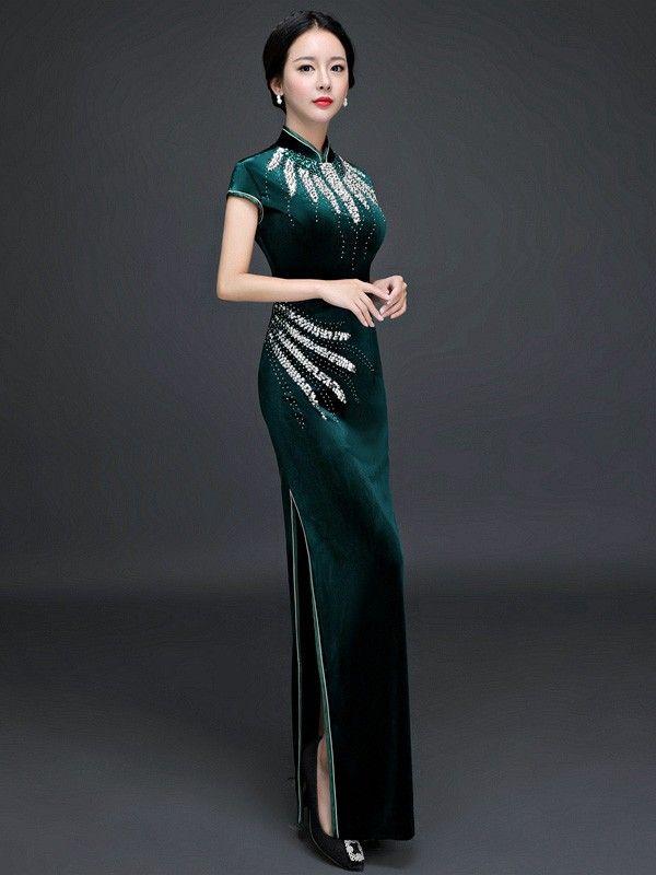 Beads Ankle-length Velvet Cheongsam / Qipao Party Dress - CozyLadyWear