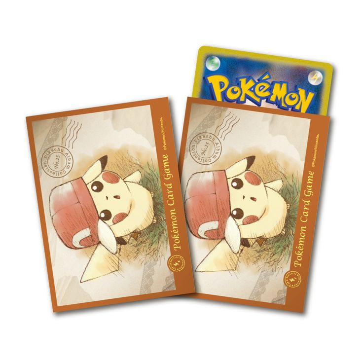 Pokemon Center Japanese Card Sleeves - Pikachu with Ash's Hat Kalos Deck Shield 64 Count