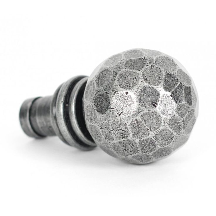 Blacksmith Pewter Patina Beaten Ball Curtain Finial - This Beaten Ball Curtain Finial is made from hand-forged iron. It is a high quality product, with a pewter patina finish and hand forged using traditional English blacksmithing methods.