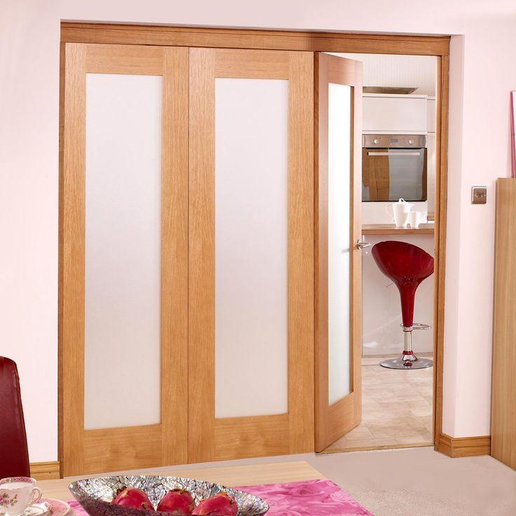 Porto Oak 3 Folding Doors Left - Frosted Glass 2078mm high - Variable Widths & 32 best Tri Fold Doors images on Pinterest | Door sets Tri fold ...