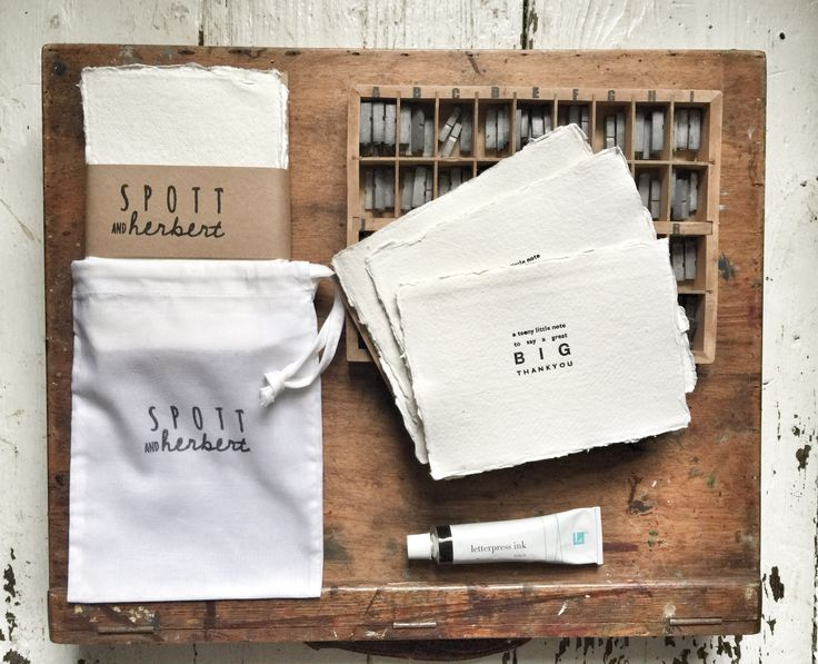 A set of 10 Thank You notecards (postcard size) Each card is type set and individually printed by hand on a vintage letterpress using 320gsm (thick) cotton paper complete with 10 kraft envelopes. What a delicious little bag o' gratitude!