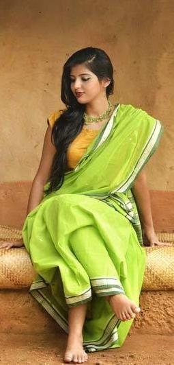 Gorgeous Spring Green Handloom Cotton Saree from Odisha
