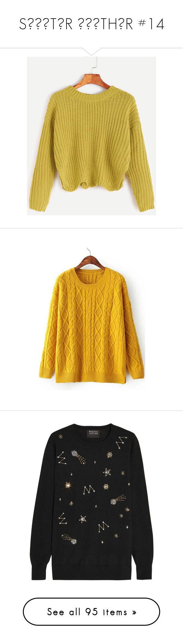 """""""SШΣΔTΣR ШΣΔTHΣR #14"""" by booknerd1326 ❤ liked on Polyvore featuring tops, sweaters, yellow, long sleeve tops, pullover sweater, sweater pullover, yellow pullover sweater, acrylic sweater, outerwear and shirts"""