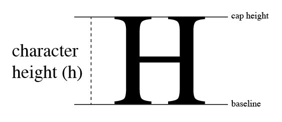 Cap height: Is the line above the height of a capital letter.  image source: /Users/hug12058259/Desktop/typography_character_height.png