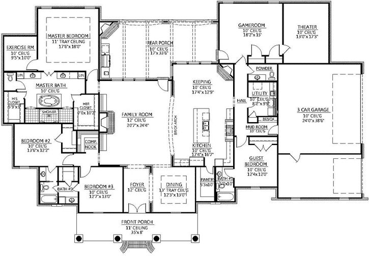 Southern Style House Plans - 4078 Square Foot Home, 1 Story, 4 Bedroom and 3 3 Bath, 3 Garage Stalls by Monster House Plans - Plan 91-141