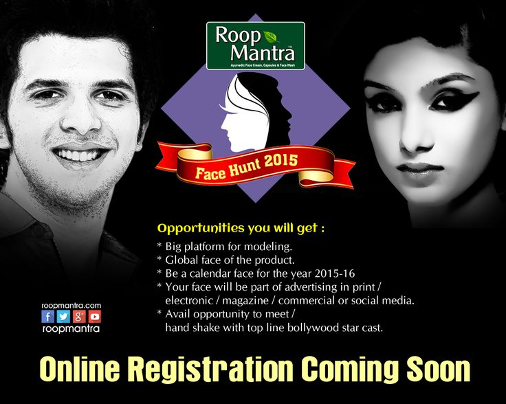 #Roopmantra #Facehunt 2015 Contest Coming Soon  Stay tuned with us …  PIn & Don't Forget to share the information with Everyone .  www.roopmantra.com Like Us: www.facebook.com/Roopmantra Follow Us:http://bit.ly/1CPmIjs