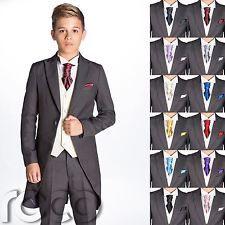 Boys Grey Suit, Page Boy Suits, Boys Morning Suit, Boys Cravat & Pocket Square