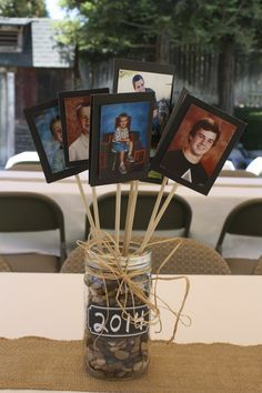 Centerpiece for tables at a graduation party. Good for guys…no flowers. Each picture is a school picture showcasing the grad in different grades.