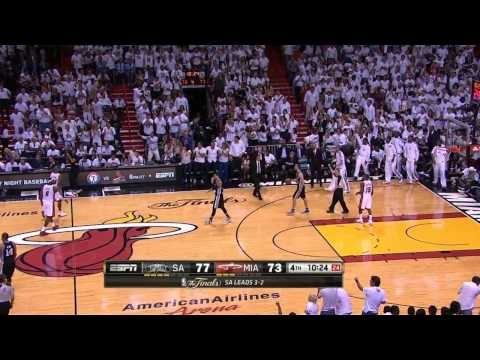 """Mike Miller's """"Shoeless"""" 3 Pointer (NBA 2013 Finals - Game 6)"""