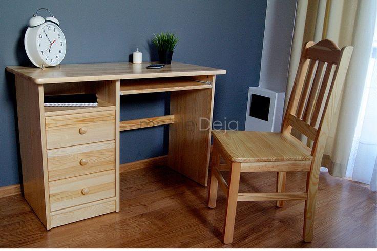 Biurko drewniane sosnowe z szufladami[6] Biurko, sekretarzyk wykonane w całości z drewna sosnowego. Jedynie na tyłach i dnach szuflad montowana jest płyta pilśniowa.  Elementy są w 100% drewniane, fronty mebli wykonane są z bezsęcznego drewna sosnowego. Szuflady posiadają metalowe prowadnice rolkowe. Uchwyty w formie gałek drewnianych. Optymalna szerokość miejsca do siedzenia zapewnia komfort i wygodę. WYMIARY ZEWNĘTRZNE: szerokość: 109cm, wysokość: 75cm, głębokość: 55cm