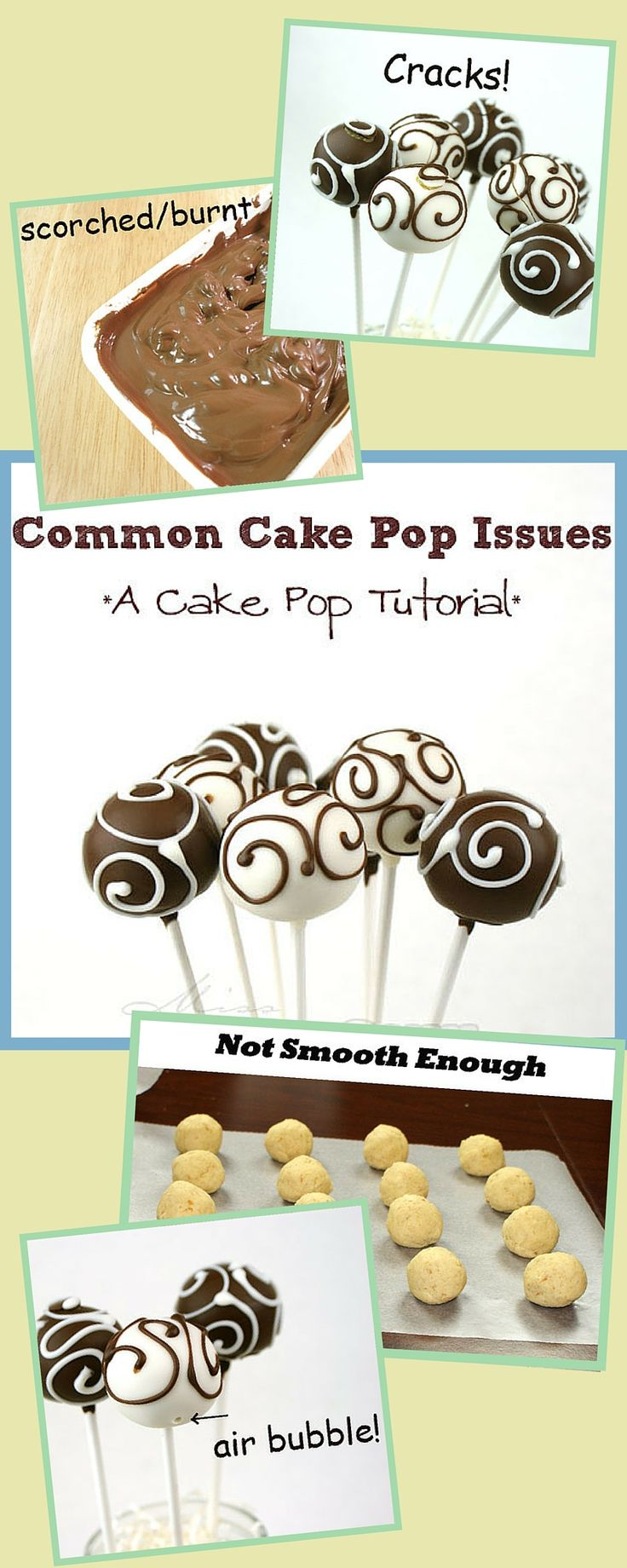 Common Cake Pop Issues & Problems - super helpful cake pop tutorial! blog.candiquik.com