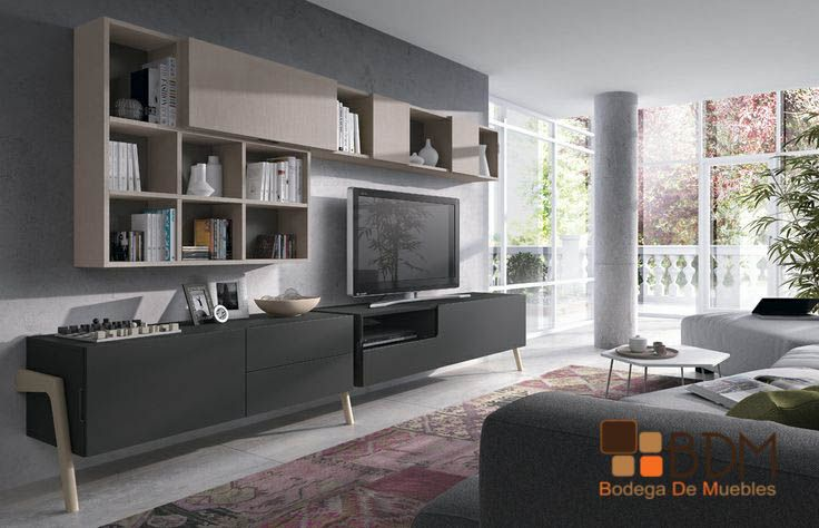 Mueble para televisión, con librero muy funcional.