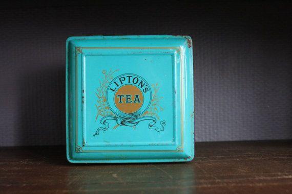 vintage blikken doosje van lipton's tea van BelaCastroAndCo op Etsy
