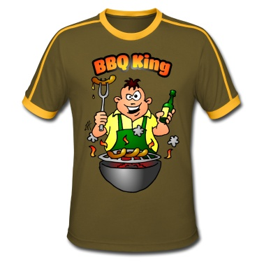 BBQ King T-Shirt. #Spreadshirt #Cardvibes #Tekenaartje #BBQ #Barbecue #Grill #Grillfest