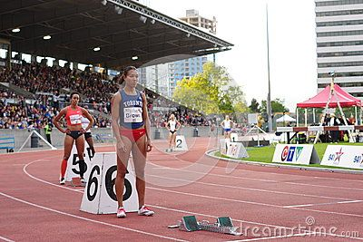 Women start of 400m run with Alicja Brown, Canadian 400m sprinter. Brown was the 2013 Canadian champion over 400m. Harry Jerome International Track competition in Burnaby, BC, Canada. Picture taken June 17, 2016