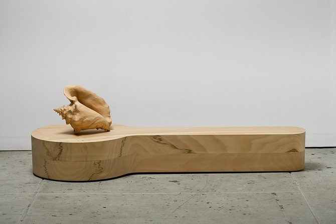 """Ricky Swallow, """"Listener,"""" 2007, English limewood, two parts"""