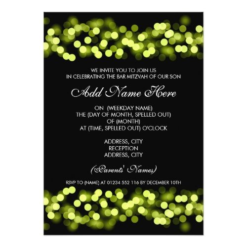 Bar Mitzvah Green Hollywood Glam Card
