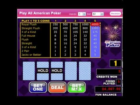 http://usvideopoker.com/ Get a $100 No deposit casino bonus @ http://www.slotsofvegas.eu/click/15/1212/4054/1     All American Poker is just as it sounds, single-player video poker game that plays in a very similar fashion to the classic video poker game Jacks and Better, even with the huge payouts it offers.    Slots of Vegas Casino welcomes USA & ...
