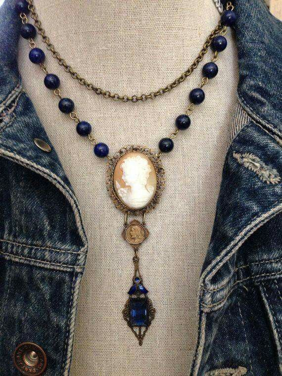 Vintage style with Cameo setting and blue crystal and beads