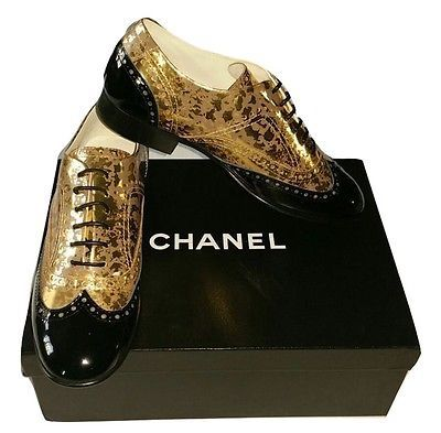 AUTHENTIC Brand New Womens Chanel Gold-Black Lace-Ups Patent Calfskin Size 39.5