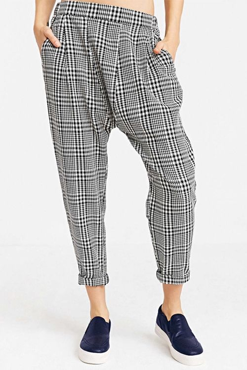 Plaid Pattern Harem Pants