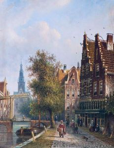 Luttik Oudorp In Alkmaar, In The Background The Weigh House Tower - (Johannes Franciscus Spohler)