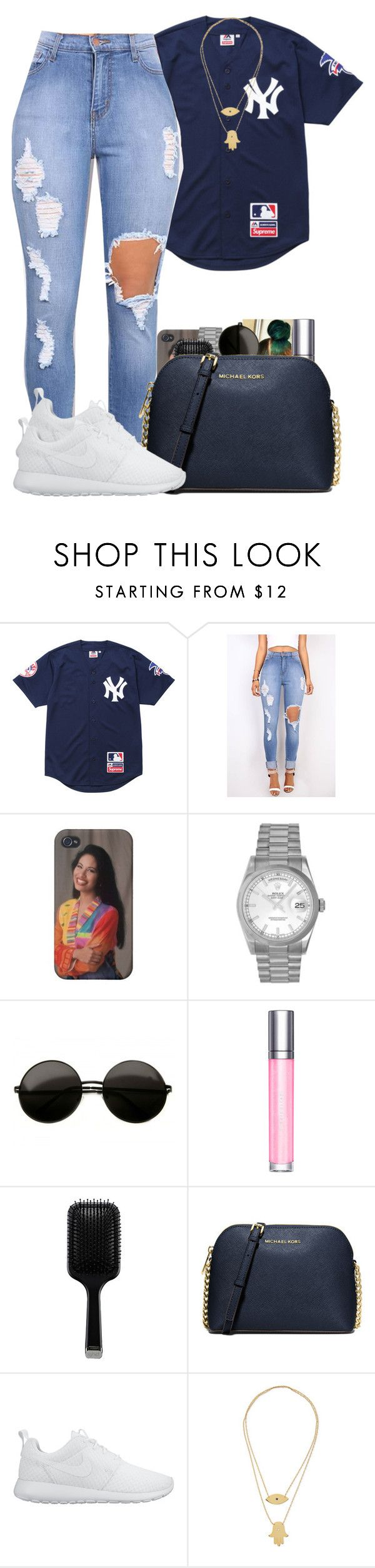 """How Bout Now"" by bryannilove ❤ liked on Polyvore featuring Supreme, Rolex, shu uemura, GHD, MICHAEL Michael Kors, NIKE and Jennifer Zeuner"