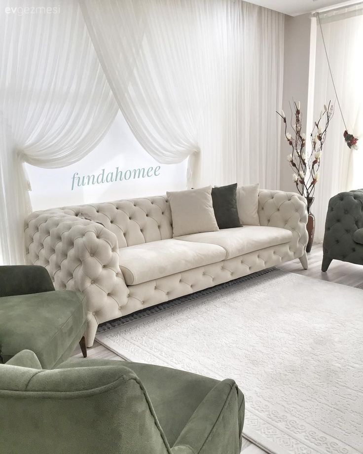 Vorhang, Wohnzimmer, Vorhang, Weiß, Chesterfield, Grün ...