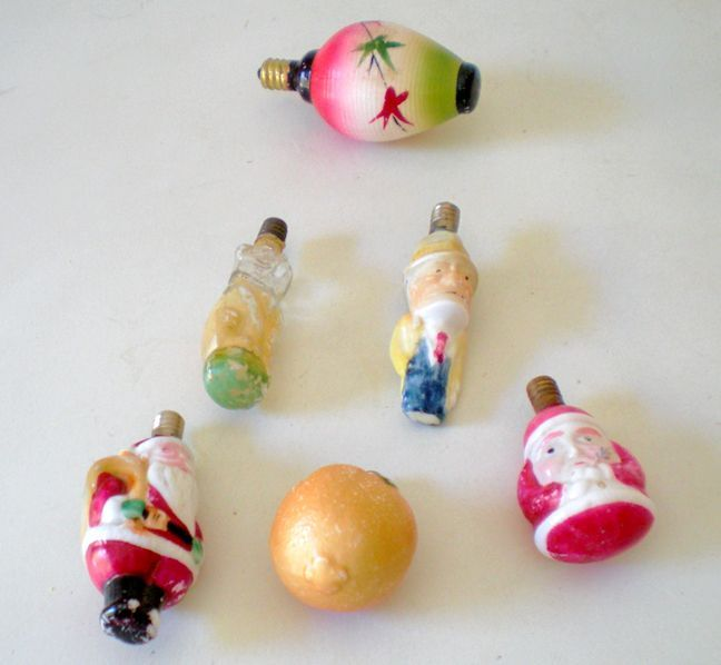 6 vintage figural christmas tree bulb lights - Christmas Tree Light Bulb