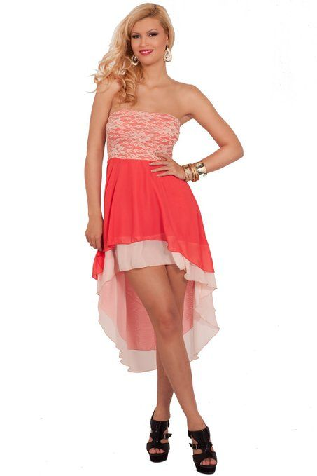 Strapless Lace Bust Sheer Evening Party Cocktail High Low Hem Dress S M L Let them drool in envy with this ravishing sexy dress!