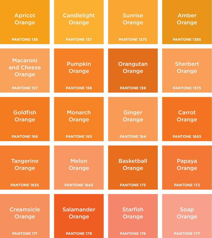 ORANGES - bridesmaid dresses can be any of these, except starfish and soap orange - alright maybe starfish...