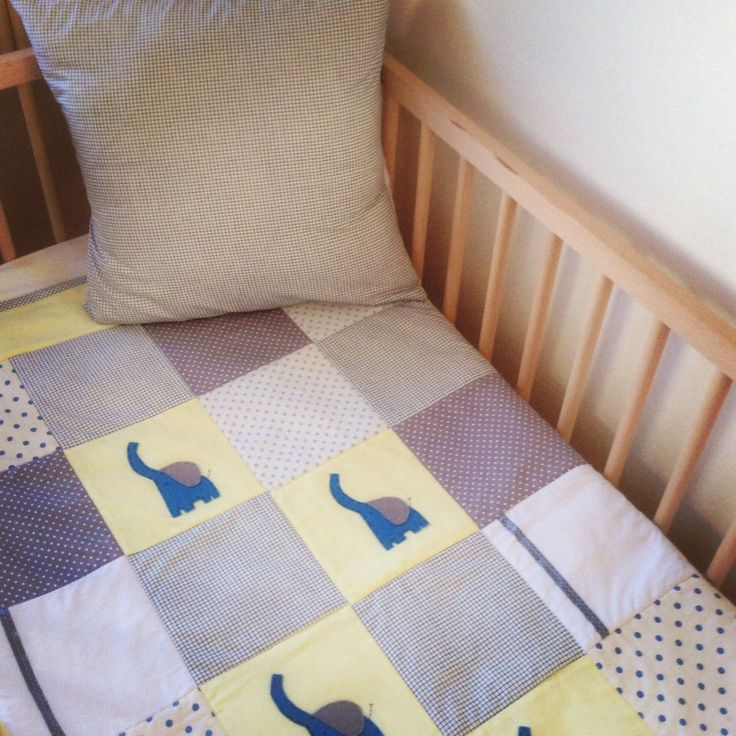 My little blue and yellow elephant quilt with matching cushion cover