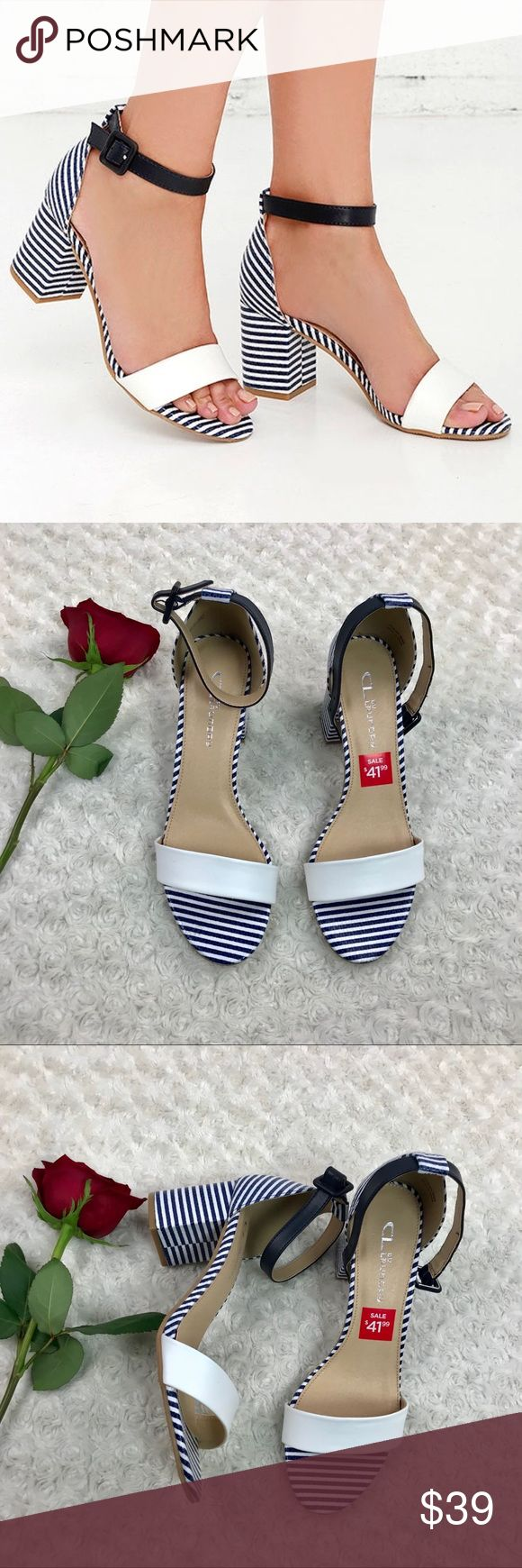 CL Laundry Jolina Jody Striped nautical sandals Condition: New without the box  The Fit is awesome Heel high 3''  Smoke & Pet Free Home Ships within one day of payments Please feel free to ask if you have any questions. CL Laundry Shoes Sandals