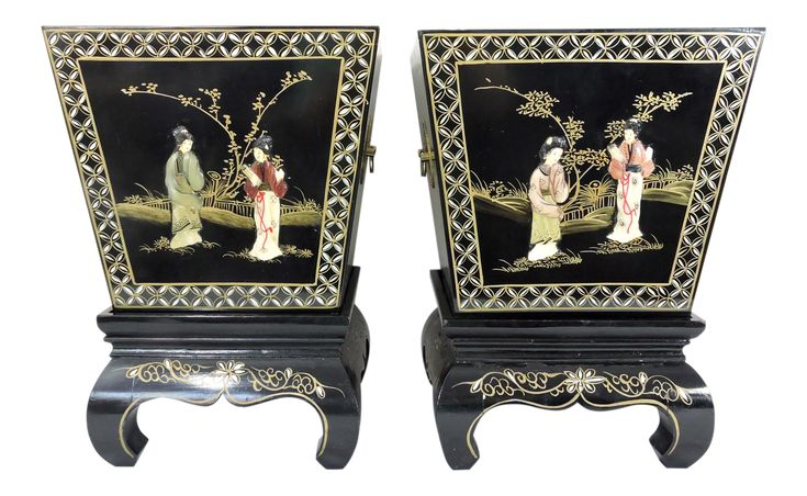 Vintage Chinese Black Lacquer and Soapstone Figural Landscaped Planters & Stands – a Pair