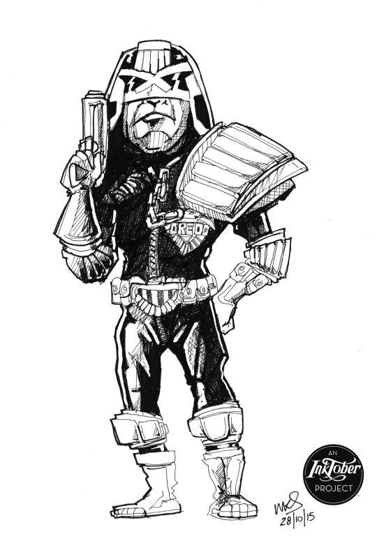 "@MrSmithMachine - #inktober Day 28: ""I Am the Law"" - Judge Dredd"
