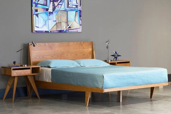 Modern Platform Bed Cherry Mid Century Modern Danish Solid Wood