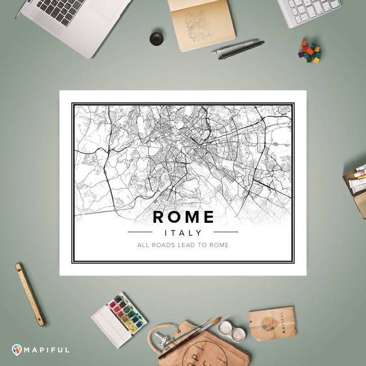 A map poster from Mapiful.com. A creative DIY tool to make your own map poster. This is 'Rome'