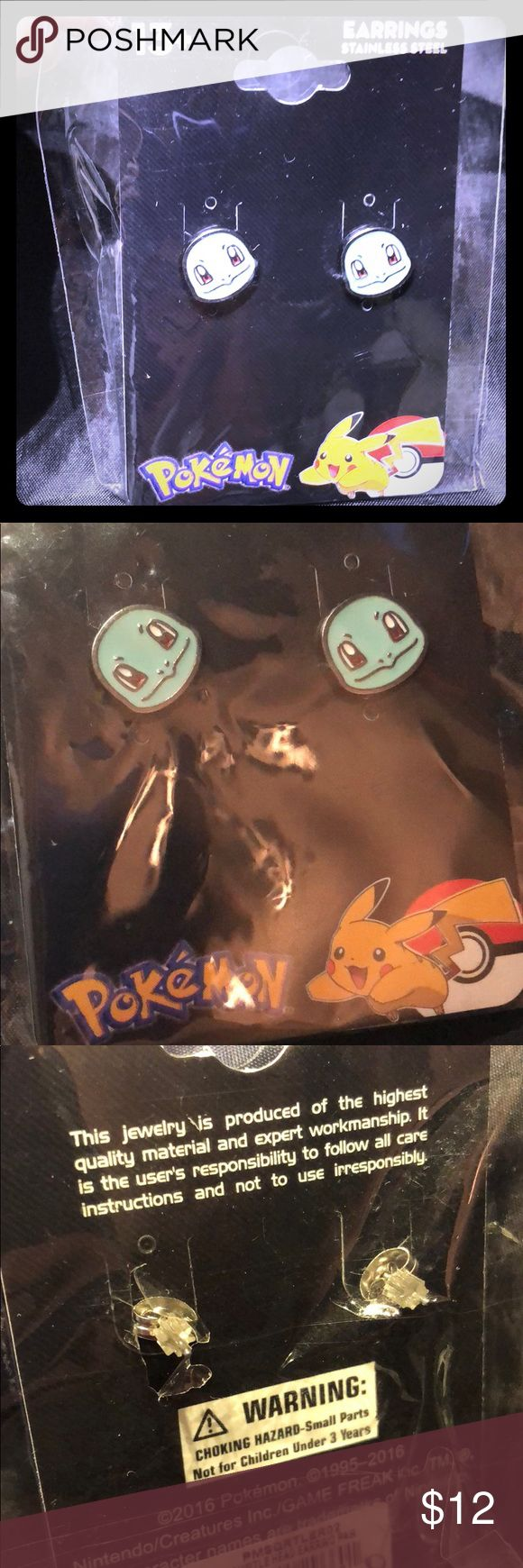 Pokémon Squirtle earrings 💥 Beautiful earrings with squirtles head! <3  Pokémon jewelry- stainless steel and licensed merchandise Pokemon Jewelry Earrings
