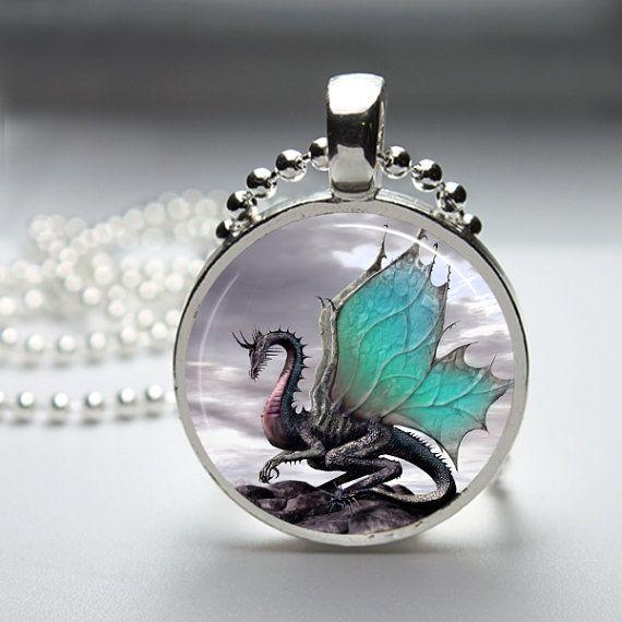 2 Tone Dragon Round Glass Pendant Necklace.                                                                                                                                                                                 More