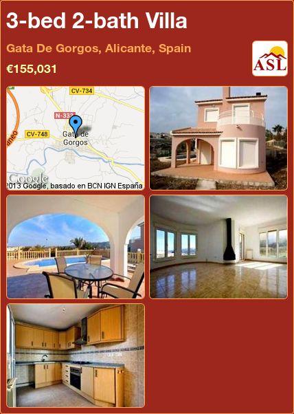 3-bed 2-bath Villa in Gata De Gorgos, Alicante, Spain ►€155,031 #PropertyForSaleInSpain