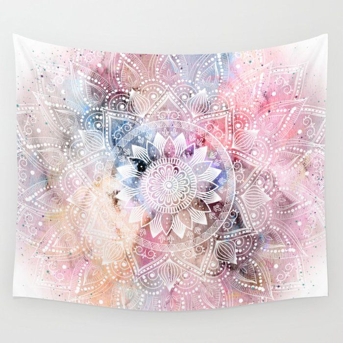 Whimsical White Watercolor Mandala Design Wall Hanging Tapestry