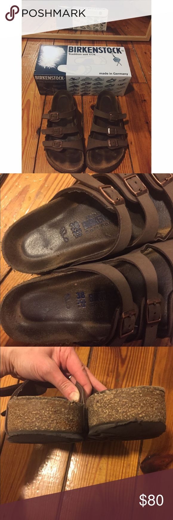 BIRKENSTOCK Florida size 7.5/38! Up for sale!  BIRKENSTOCK Florida sandals size 7.5/38  These are in great condition- I wore them last summer and broke them in so they're ready to wear and won't kill your feet!  There is a lot of life left in them-  Please ask any questions This is a comfy sandal only selling them bc I got a pair of Arizonas for my bday and don't like having multiple sandals.   ❤ Birkenstock Shoes Sandals